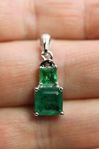 Pendant Green Emerald Doublet Square Genuine Natural Gem Solid Sterling Silver