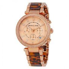 NEW Michael Kors MK5538 Parker Chronograph Tortoise Acetate Rose Gold Dial Watch