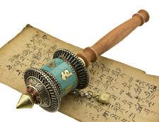 Moulin à prières tibetain rituel Om mani padme Hum Turquoise avec mantra 25663