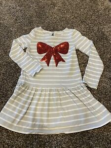 Gymboree Girls Size 8 Red White Striped Red Bow Tunic Dress Christmas Holiday