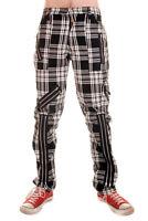 Punk Black Cotton Work Pants with Red Tartan Tiger Side Pocket