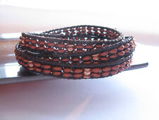 Copper Triple Leather Wrap Beaded Bracelet Brown Double Row Beads