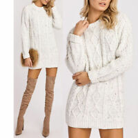 Women ladies Crew Neck Long Sleeve Chunky Cable Knitted Jumper Sweater Dress Top