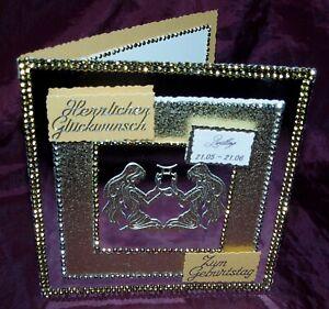 Glückwunschkarte Grußkarte zum  Geburtstag Sternzeichen Zwilling Gold Silber