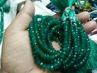 """AAA GREEN ONYX RONDELLE MICRO FACETED 6-7 MM LOOSE GEMSTONE BEADS 8"""" STRANDS"""