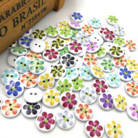 50/100pcs Mix Sunflowers Wood Buttons 15mm Sewing Craft Lots WB315