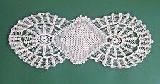 Vintage White Hand Crochet Doily Centerpiece Unusual Shape