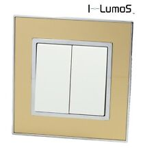 I LumoS AS Gold Mirror Glass & White 13A Single/Double Sockets & Light Switches