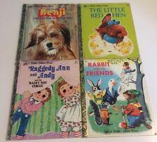 Vtg Little Golden Books Lot Of 4~Benji~Red Hen~Raggedy Ann/Andy~Rabbit & Friends