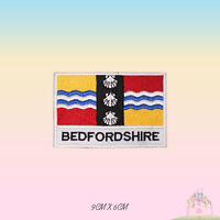 BEDFORDSHIRE UK County Flag With Name Embroidered Iron On Patch Sew On Badge