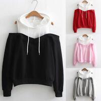 Women Off Shoulder Long Sleeve Hooded Sweatshirt Casual Tops Blouse Pullovers