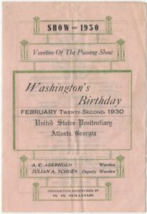 1930 Penitentiary Atlanta Georgia Washington's Birthday Variety Show Program
