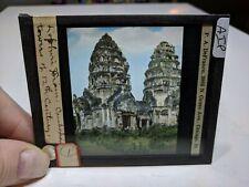 Colored Glass Magic Lantern Slide AIP Cambodia Angkor Buddhist 12th Century