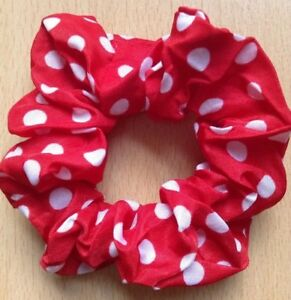 A Red With White Dots Silky Scrunchie Ponytail Band / Bobble