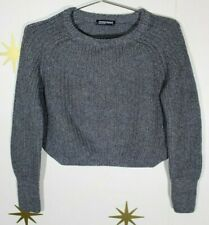 Women's AMERICAN APPAREL Gray Cotton Cropped Fisherman Sweater USA Made Small