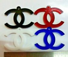 Set 4pcs VIP logo Chanel white, black, red, blue colors new plastic keychain