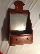 Vintage Unique Wood Wall Table Desk Drawer Nic Nac Vermont Mirror Wall Shelf