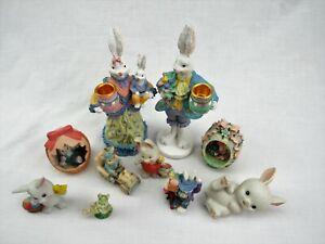 Eastor decoration lot rabbit Figurines knick knacks bunny rabbits candle holders