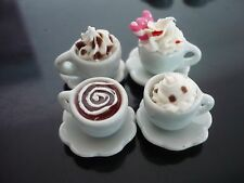 4 Mix Cups of Cappuccino Coffee Dollhouse Miniatures Food Deco Bakery Drink 2