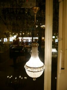 "FINE PEARLS BASKET BRASS GLASS CRYSTAL CEILING LAMP LIGHT CHANDELIER  Ø 10"""