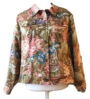 COLDWATER CREEK Size PL Colorful Floral Beige Pinks Blues Taupe BLAZER Jacket