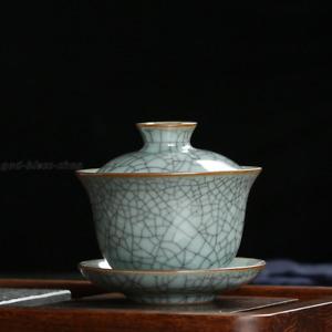true longquan celadon porcelain gaiwan marked crackle glaze iron line tureen new