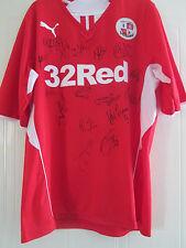 Crawley Town 2013-2014 Squad Firmado Camiseta de fútbol FLT Carta de Caridad/40214