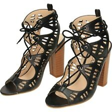 Lace Up Block High Heel Peep Toe Cut Out Sandals Shoes black pu size 5/38 024(B)