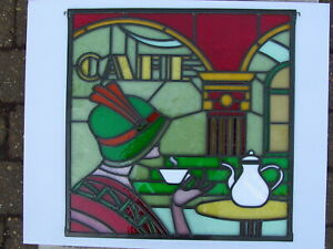 Newly crafted ART DECO Leaded Stained Glass Window Panel CAFE 493mm by 500mm