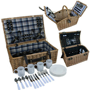 4 PERSON TRADITIONAL WICKER PICNIC BASKETS OUTDOOR CAMPING HIKING WALK HAMPER