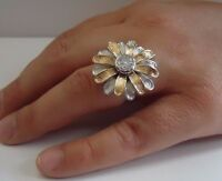 TWO TONE  DAISY FLOWER RING W/ .50 CT LAB DIAMOND / SZ 5-9 / 925 STERLING SILVER
