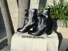 Diesel MAD IN BOOT, Black Zip Back w/Dust Bag, Leather, US Size 7.5M, MSRP$330