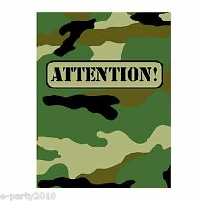 MILITARY CAMOUFLAGE INVITATIONS (8) ~ Birthday Party Supplies Stationery Army