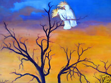 cockatoo Sunset birds  tree original art painting canvas  landscape Australia