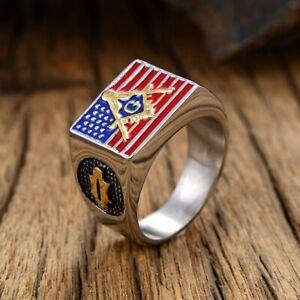US Flag Masonic Ring Stainless Steel Vintage Freemason Men's Biker Punk Rings