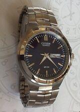 Citizen Men's Quartz Analog Watch Blue Dial Day & Date Stainless Steel Bracelet!