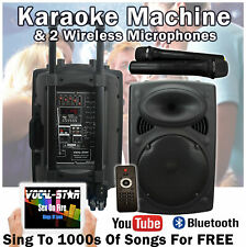 "Portable Karaoke Machine Speaker 2 Wireless Mics 12"" 300w Bluetooth MP3 VS-P120"