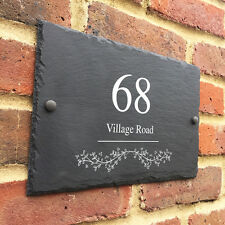 Rustic House Gate Door Sign Plaque Number Personalised Name Plate Slate Grey A4