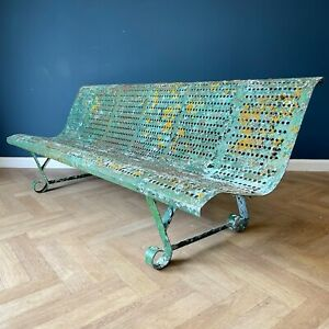 Antique Garden Bench Wrought Iron Green Outdoor Benches Metal French Old