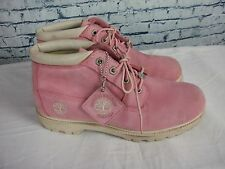 A PAIR OF LADIES PINK LEATHER TIMBERLAND   BOOTS SIZE UK 7.5.