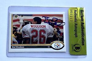 Rod Woodson signed 1991 upper deck card 111 steelers football beckett coa
