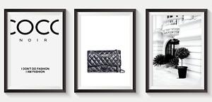 Set of 3 Fashion Art Prints Designer Perfume Bottle logo pink A5 A4 A3 S15