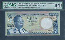 CONGO DEMOCRATIC REPUBLIC 1000 Francs 1964 P8a PMG 64 EPQ RARE!