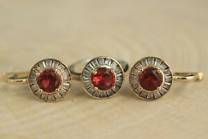 Turkish Ruby Set 925 Sterling Silver Handmade Antique Ring Earring Ladies Set