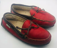 Vtg LL BEAN Womens 6 Slippers Moccasins Red Leather Fur Lined     jj