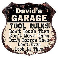 BPG0006 DAVID'S GARAGE TOOL RULES Rustic Shield Sign Man Cave Decor Funny Gift
