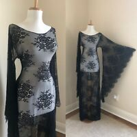 VTG Black Sheer Lace Art Deco Victorian BoHo Hippie Bell Sleeve Wedding DRESS