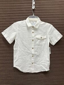 Old Navy Boys White Linen-Blend Pocket Short Sleeve Button Up Shirt Size M - NWT