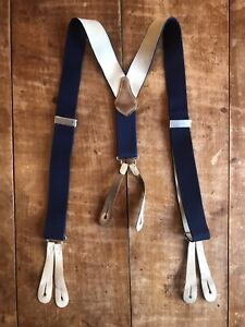 Navy Braces With Leather Button Straps