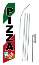 Pizza Banner Sign Flag Display Kit Swooper Starter Bow Feather